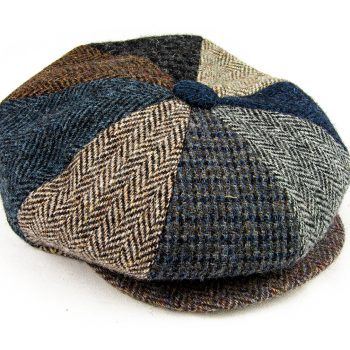 8 piece harris tweed cap with popper