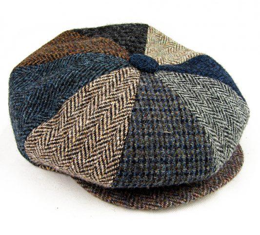8 piece harris tweed cap with popper