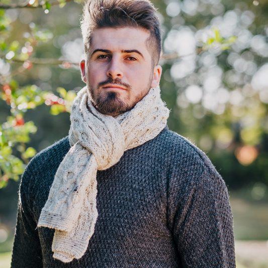 Glencroft British Wool Aran scarf on male model