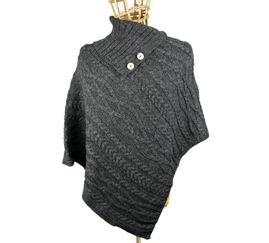 Charcoal Poncho Front
