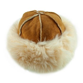 Justina Fluffy Sheepskin Hat Tan Top