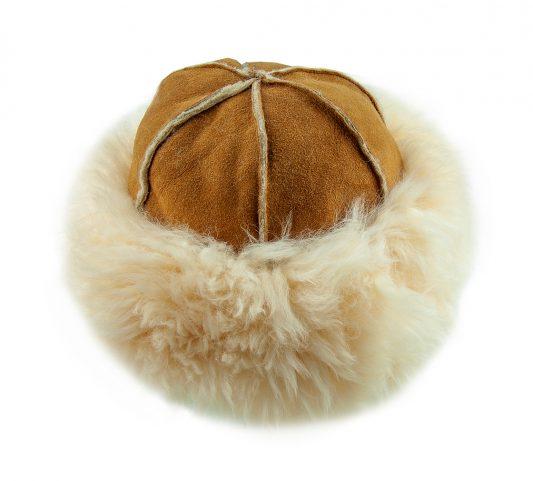 Justina Fluffy Sheepskin Hat Tan Top