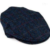 Children's Harris Tweed flat cap navy right