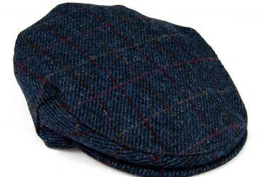 Children's Harris Tweed flat cap navy right