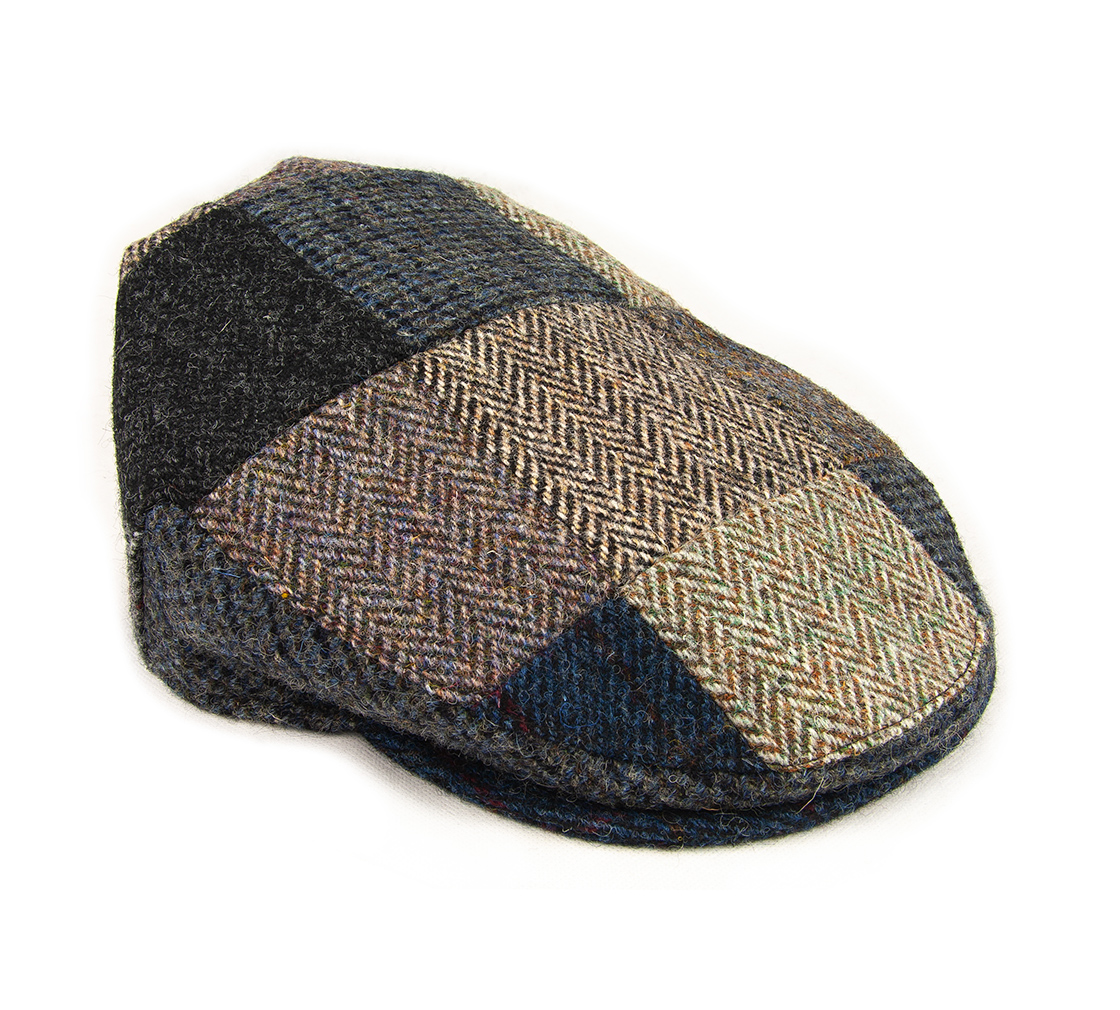 ae8db4cb ... Harris Tweed Patchwork Flat Cap. BB10 ht2 solo front right