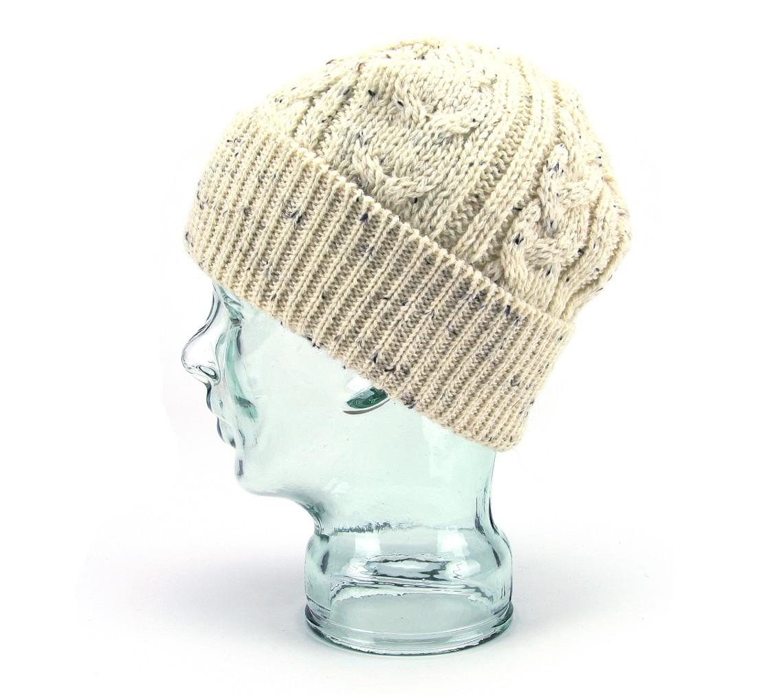 8144cca1500 British Wool Aran Beanie Hat