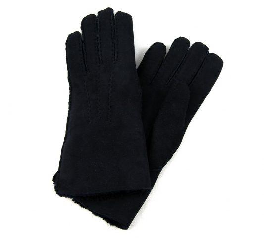 Black Ladies Lambskin Gloves Crossed Over