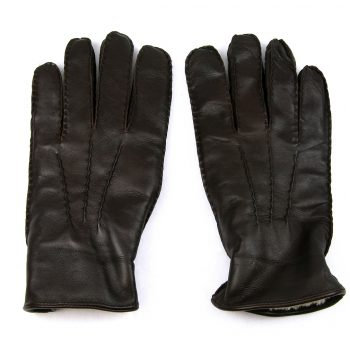 Brown lambskin lined leather glove back