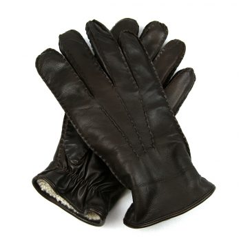 Brown lambskin lined leather glove crossed over