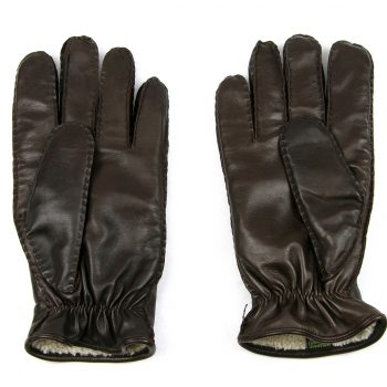 Brown lambskin lined leather glove palm