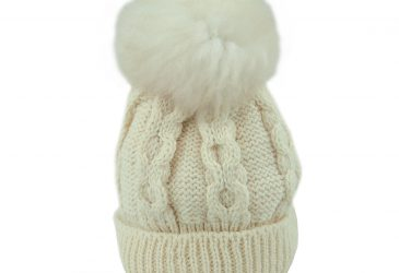 British Wool beanie cream with white bobble front