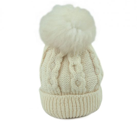 British Wool beanie cream with white bobble front