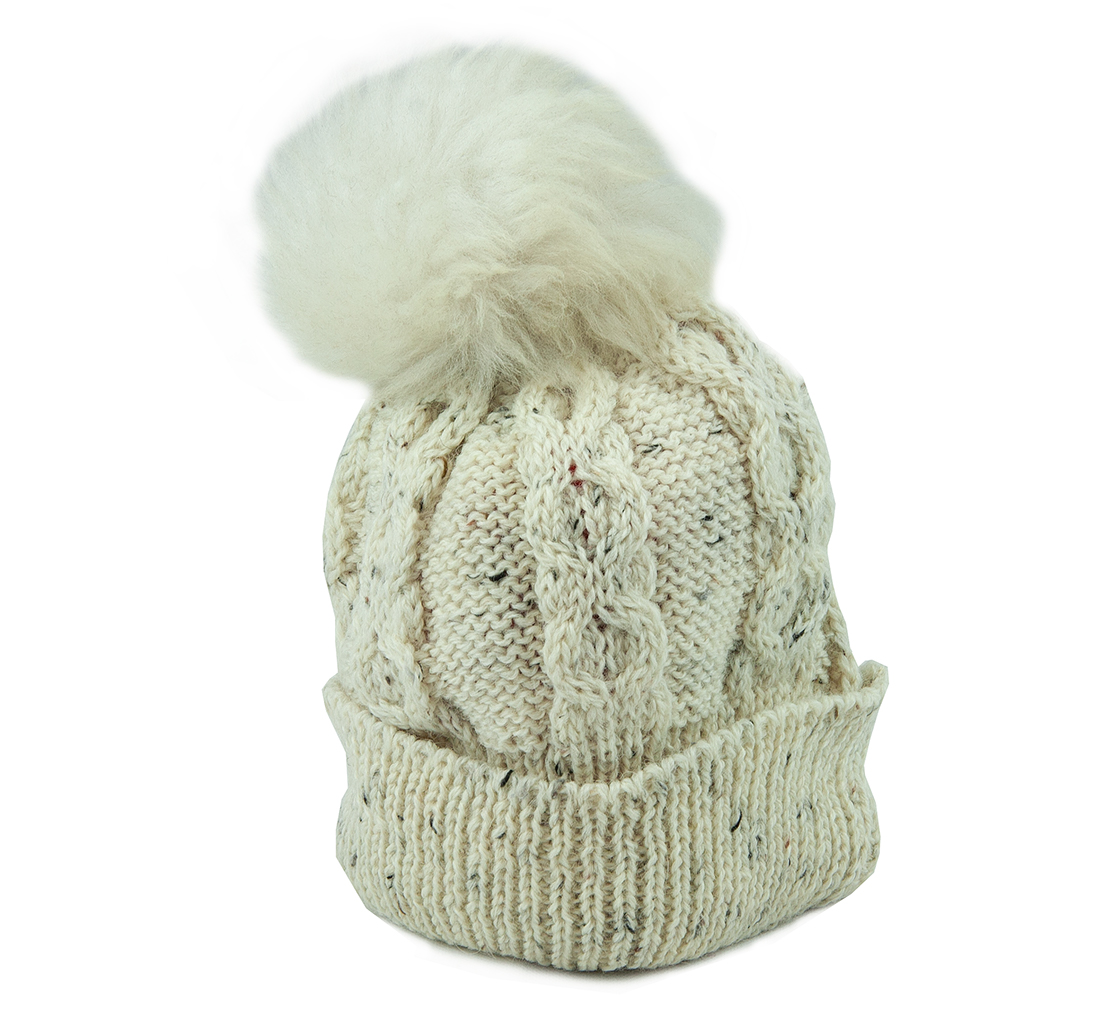 British Wool beanie flecked cream with white bobble front