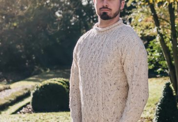 Curly collar aran jumper on male model