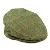 Teflon coated wool flat cap front green
