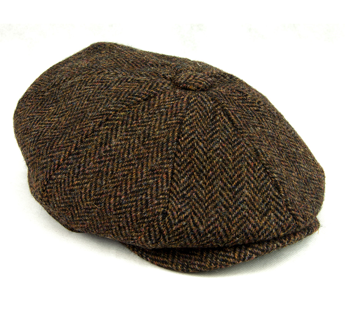 Authentic Harris Tweed Traditional Teflon Coated Blue Herringbone Wool Flat Cap