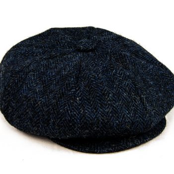Baker Boy cap side view navy Harris Tweed