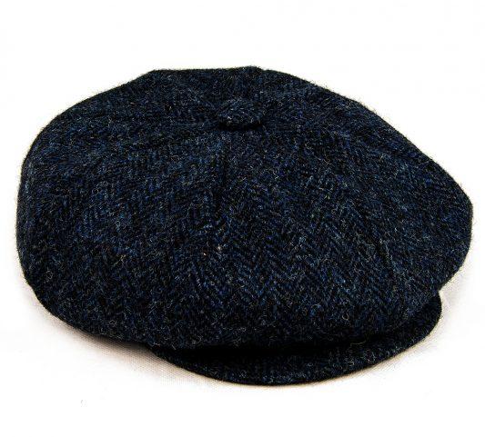 Baker Boy cap side view navy Harris Tweed