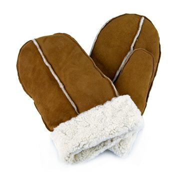 Tan pieced sheepskin mittens with white cuff