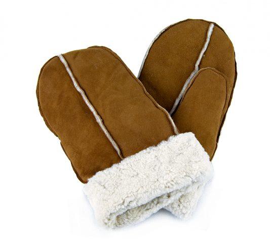 Tan pieced sheepskin mittens with white cuff