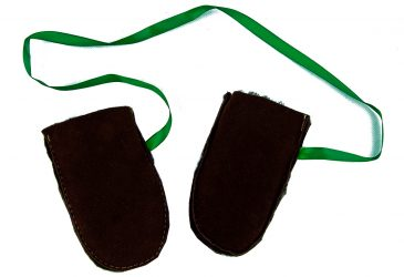 Dark brown baby mittens with green ribbon