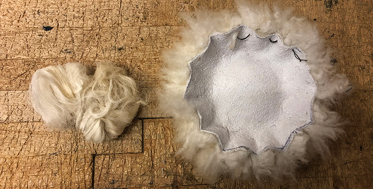 Sheepskin Bobble manufacturing stage 1