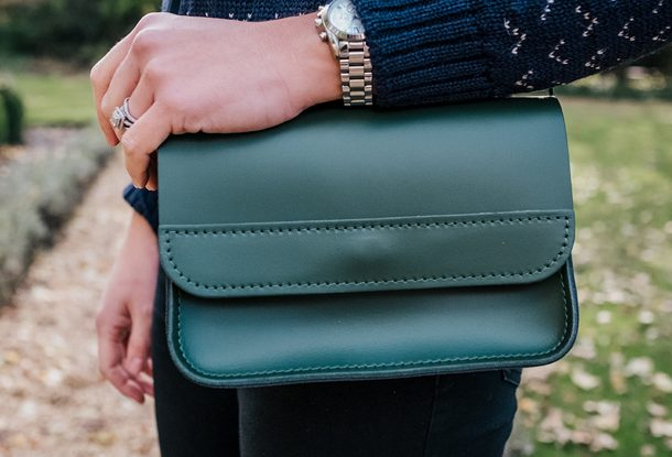Leather crossbody bag green