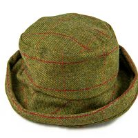 Cloche tweed hat - green red orange check