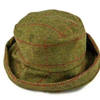 Cloche tweed hat - green red orange check