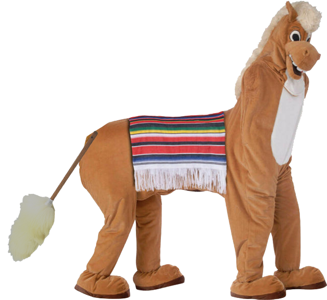 Pantomime horse with sheepskin tail