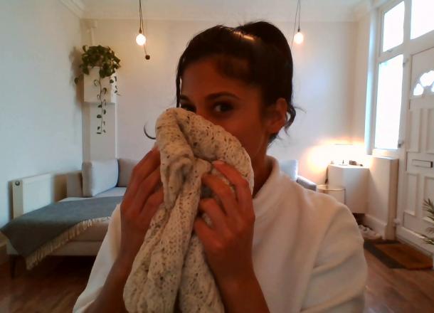 Smelling a British Wool scarf